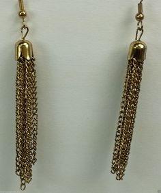 Gold tone dangle chain pierced earrings #DropDangle