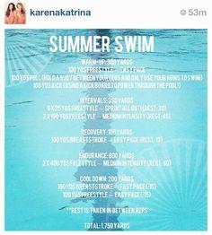 Triathlon training by Karena and Katrina Tone It Up. Swimming exercise.