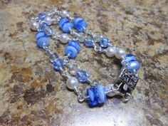 Blue Swirl Crystal Sapphire Fire Polished Czech Bead by julesnkc, $22.50