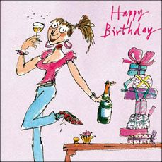 Click to view the Quentin Blake Lady, Drink & Presents, Birthday Card