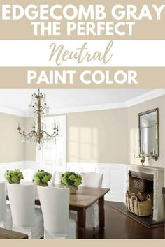 Benjamin Moore Edgecomb Gray is the perfect neutral paint color. This versatile gray works well with all decor styles from farmhouse to tradition. It's a greige paint color worth checking out. #paintcolors #gray #interiordesign #home #homeimprovement. Indoor Paint Colors, Dining Room Paint Colors, Farmhouse Paint Colors, Kitchen Paint Colors, Paint Colors For Home, Neutral Kitchen Colors, Foyer Paint, Farmhouse Decor, Greige Paint Colors