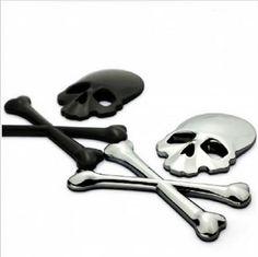 Cheap Bandera pirata del cráneo del demonio de Metal hueso Logo Badge Decal…