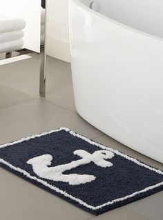 Nautical Chic | Simons Maison Marine Anchor Bath Mat. http://www.simons.ca/simons/product/9414-7141100/Coastal+Villa/Marine+anchor+bath+mat++50+x+80+cm?/en/&catId=c1547&colourId=99 #home #decor #interiors