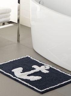 Nautical Chic | Simons Maison Marine Anchor Bath Mat. http://www.simons.ca/simons/product/9414-7141100/Coastal+Villa/Marine+anchor+bath+mat++50+x+80+cm?/en/&catId=c1547&colourId=99 #home #decor #interiors