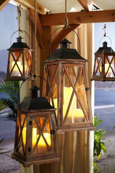 Raindrops and Roses Nautical Lanterns, Lanterns Decor, Candle Lanterns, Lantern Lamp, Lantern Lighting, Raindrops And Roses, Outdoor Lighting, Outdoor Decor, Porch Decorating