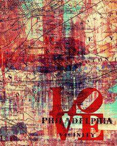 "The Philadelphia Vicinity.  8"" x 10""  Philadelphia Vintage Map Fusion Paintographic Fine Art Print. $20.00, via Etsy."