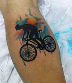 Bicycle Chase Tattoo On Legs For Men