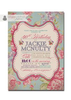 Adult Birthday Invitation Vintage Rose Shabby Chic Rustic Typography Poster 30th 40th 50th 60th 70th Printable DIY or Printed - Jackie Style via Etsy
