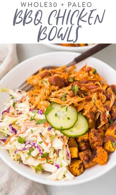 These BBQ chicken bowls are loaded with so much goodness: shredded BBQ chicken, seasoned cubed sweet potatoes roasted until crisp, a simple coleslaw, and quick homemade dill pickles. They're healthy and filling and surprisingly quick and easy. Whole Foods, Paleo Whole 30, Whole Food Recipes, Cooking Recipes, Cooking Tips, Whole 30 Meals, Easy Whole 30 Recipes, Meal Recipes, Sauce Recipes