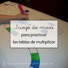 Juego de mesa para practicar las tablas de multiplicar. Lo que más importa es la comprensión del concepto, conocer las tablas de memoria es necesario.
