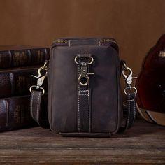 Vintage Leather Belt Pouch for Men Waist Bags BELT BAGs Shoulder Bags – imessengerbags Leather Belt Pouch, Leather Belts, Mini Messenger Bag, Brown Backpacks, Belt Bags, Long Wallet, Card Wallet, Vintage Leather, Bucket Bag