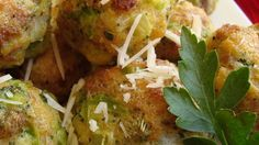 Frozen broccoli and Parmesan cheese are blended with dry stuffing mix and rolled into delicious appetizer balls!