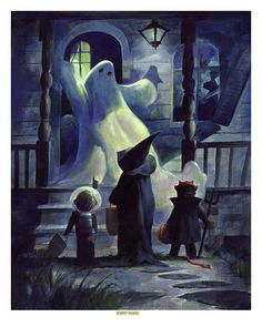 THE GHOST HOUSE Spooky Haunted Halloween Trick or Treat Witch Print Mike Von Hoffman
