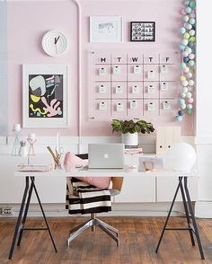 "Pink-walled #workspacegoals #office #homeoffice  Regram via: @ohhappyday in the USA  The team at Oh Happy Day have a sparkling new studio + they've been sharing sneak peeks all week! We're in love with this pink + white workspace  That weekly wall planner is such a great idea!  Thanks Jordan + team for the workspace eye candy today  For more inspo see @ohhappyday's post ""One desk 4 ways"" for 4 stunning decor ideas ✨"