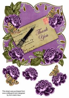 Purple Rose Thank You 8in Fancy Rose Topper on Craftsuprint - Add To Basket!