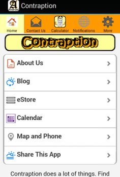 Contraption app home page