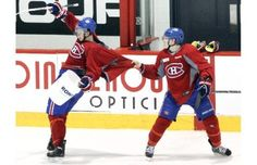 Brendan Gallagher had some fun while Galchenyuk was trying to gather pucks at the end of the practice :)
