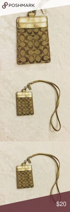 """Coach Signature Lanyard ID Card Holder Coach Signature Lanyard ID Card Holder Pattern: Signature """"C"""" Pattern. Condition: New without tag Coach Accessories Key & Card Holders"""