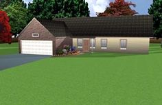 House Plan 70901   Ranch    Plan with 1709 Sq. Ft., 3 Bedrooms, 3 Bathrooms, 2 Car Garage