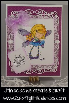 This adorable card is made from Whimsy Stamps Flower Fairy, stop by our blog for the instructions to make her!