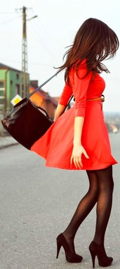 see more Gorgeous red dress street style fashions