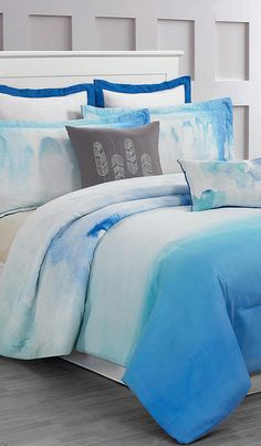 Cloudy Teal Skye Hotel Six-Piece Comforter Set