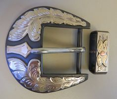 "9147 New Handmade DON ROGERS Two Piece 1 ½"" Belt Buckle Set"