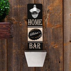 personalized wall-mounted bottle opener with a cap catcher bucket