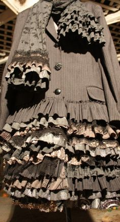 showdiva designs Short Ruffles n Ruffles Asymetrical Coat with Matching Scarf on Etsy, $525.00