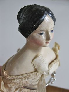 "Graceful Paper Mache doll ""Milliners Model ""with molded Bun ."