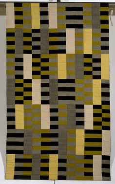 Germany (made)    Date:  1967 (made)   1926 (designed)    Artist/Maker:  Stölzl, Gunta (weaver)   Albers, Anni (designer)    Materials and Techniques:  Woven silk and rayon  Anni Albers studied weaving because it was the only course open to women at the Weimar Bauhaus, an institution founded by Walter Gropius (1883-1969) to train architects, artists and industrial designers. Its aim was to unite architecture and the fine and applied arts. Anni Albers often looked to her colleague Gunta…