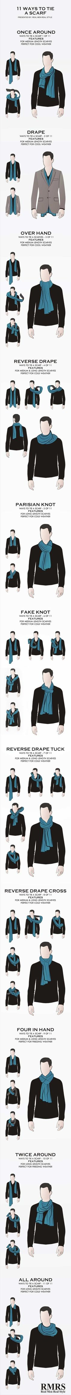 11 ways to tie mans scarf infographic. Psst.., woman can learn and apply this too ;) #tieswomen
