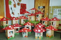 Milk carton cottage with mushroom painted cute! Craft Activities For Kids, Preschool Crafts, Crafts For Kids, Arts And Crafts, Mushroom Crafts, Deco Kids, Easy Fall Crafts, Class Decoration, Recycled Art