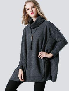 Side-Pockets Foldover Turtleneck Dolman Sleeve Knit Jumper - OneBling