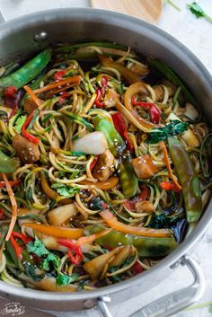 Healthy Chicken Chow Mein Zoodles | It makes the perfect easy 30 minute weeknight meal made in just one pan. Packed with fresh vegetables, zucchini noodles and an umami flavor-packed sauce, it's so much better than takeout! @lifemadesweeter
