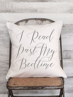 Pillow Cover I Read Past My Bedtime Calligraphy by JolieMarche