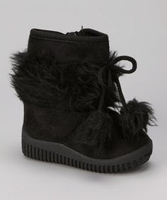 Take a look at this Black Pom-Pom Boot by Diamond Footwear on #zulily today!