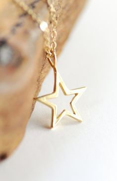 necklace gold star necklace open
