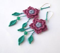 MADE to ORDER - CUSTOMIZABLE - Nymph - Cotton yarn Crochet Earrings, Fiber Textile Beads Mauve Pink Mint Leaves Romantic Flower. €20.00, via Etsy.