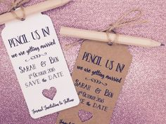 """Personalised """"Pencil us in"""" Save The Date / Evening Card / Tags Wedding Invitation with Pencil & Envelope Wedding Cards Handmade, Handmade Wedding Invitations, Wedding Stationary, Wedding Invitation Cards, Wedding Favours, Invites, Reception Invitations, Engagement Invitations, Invitation Suite"""