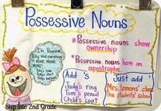 I love this possessive nouns anchor chart! Nouns First Grade, 2nd Grade Ela, 2nd Grade Writing, First Grade Reading, Second Grade, Grade 2, Grammar Anchor Charts, Anchor Charts First Grade, Writing Anchor Charts