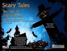 The flyer that marketing made for Scary Tales at the New River Library in 2016.  This was a Halloween themed story time that also had crafts and snacks.