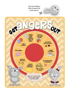 A game on the topic of Anger.Age: 4-7Players: 1-4Time to play: 10 min. Instructions:Cut out and assemble the spinner.Encourage your child (when angry) to use the spinning wheel to find ways to express anger through some energetic actions.