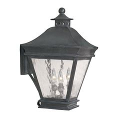 Landings Outdoor Wall Lantern In Charcoal And Water Glass by Elk Lighting Group