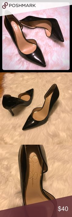 Jessica Simpson Black stilettos Jessica Simpson black heels size 8 medium. Wore only once good condition. Have a few scuffs on them from moving around in closet. Heel in perfect condition. No box. Jessica Simpson Shoes Heels