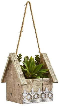 Nearly Natural Succulent Garden Artificial Plant in Birdhouse Hanging Planter Succulent Planter Diy, Diy Planters, Planter Boxes, Succulents Garden, Hanging Planters, House Plants Decor, Plant Decor, Home Crafts, Diy And Crafts