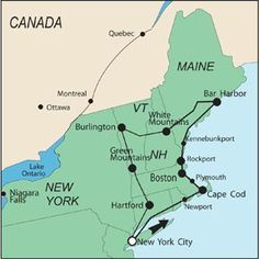 New England Road Trip Map Suggested Routes Travel Pinterest