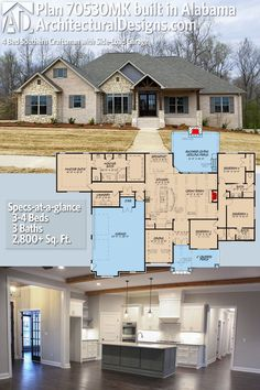 Architectural Designs House Plan 70530MK client-built in Alabama! The home gives you 4 beds, 3 baths and over 2,600 sq. ft. of heated living space. Ready when you are. Where do YOU want to build? #70530MK #adhouseplans #architecturaldesigns #houseplan #homeplan #architecture #newhome #newconstruction #newhouse #homedesign #dreamhome #dreamhouse #homeplan #architecture #architect #ruggedhouse