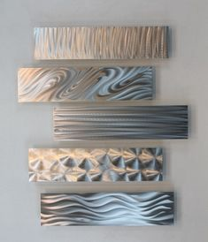 Silver Metal Abstract Modern Wall Art Sculpture 5 Easy Pieces / By Jon Allen