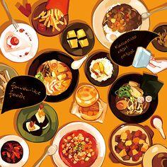 手绘水彩 美食食物 满满一大桌(๑•̀ㅂ•́)و✧